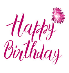 Happy birthday pink text isolated on white vector