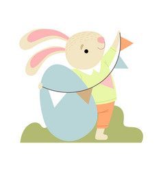 happy cute bunny with egg and party flags happy vector image