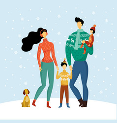 happy family mother father son daughter in winter vector image