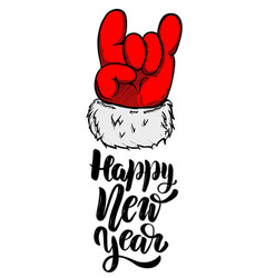 happy new year santa claus hand with rock and vector image