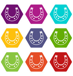 horseshoe icon set color hexahedron vector image