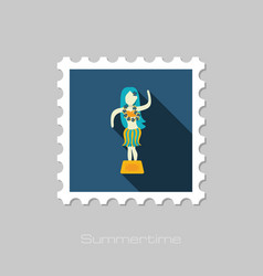 Hula dancer statuette stamp summer vacation vector