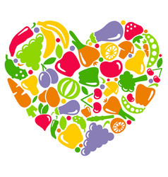 i like vegetables and fruit vector image