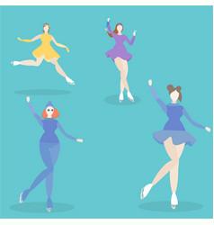 ice skating girls vector image