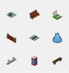 Isometric architecture set of barrier turning vector