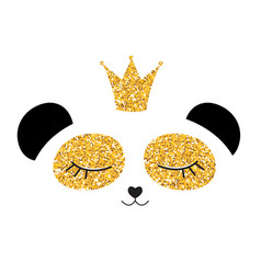 Little cute panda princess with crown and flowers vector