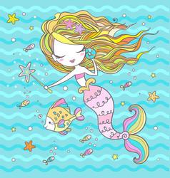 little mermaid sorceress cartoon character vector image