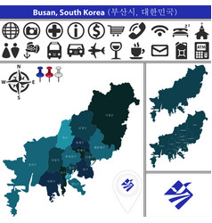 map of busan with districts south korea vector image