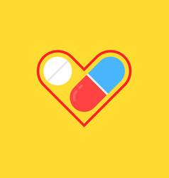 medicine for heart linear logo vector image