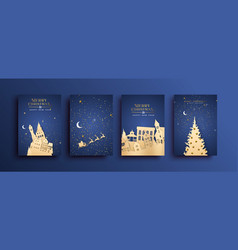 merry christmas paper cut city house card set vector image