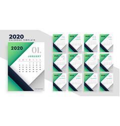 Modern geometric 2020 calendar layout design vector