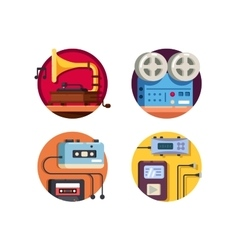 Music player vintage retro icons vector