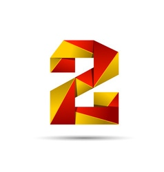 Number two 2 icon design template elements 3d logo vector