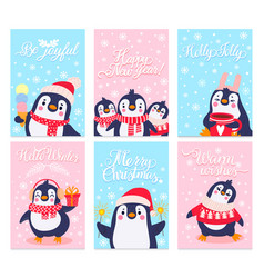 penguin cards merry christmas greetings card vector image