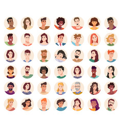 Portraits and avatars people male and female vector