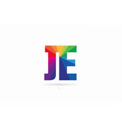 rainbow colored alphabet combination letter je j vector image