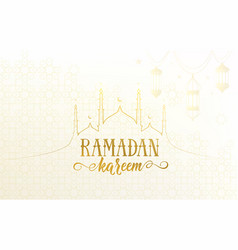 Ramadan greeting banner with islamic mosque vector