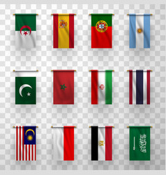 realistic flags icons national countries symbolic vector image