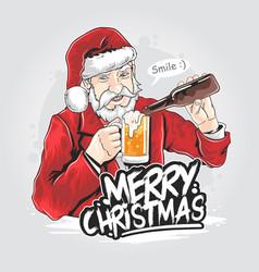 santa claus beer christmas party artwork vector image
