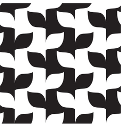 Seamless leaves in black and white pattern vector image