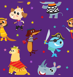 Seamless pattern with cartoon animals in costume vector