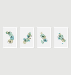 set creative minimalist hand draw floral vector image