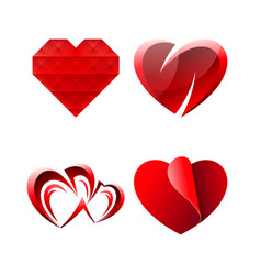 set of miscellaneous sweet romantic hearts vector image