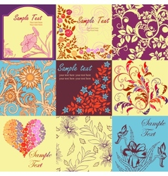 Set of retro floral backgrounds and seamless vector image