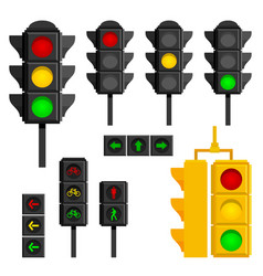 set of traffic lights isolated on white background vector image