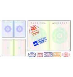 set realistic blank passport pages or empty vector image