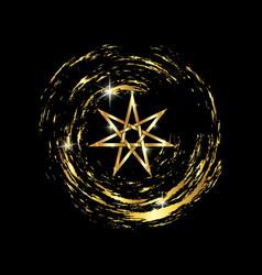 seven point star or septagram gold fairy star vector image