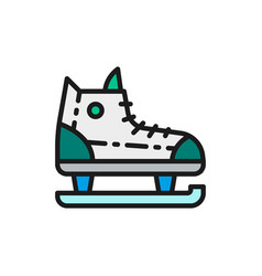 skates sports equipment flat color line icon vector image