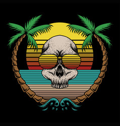 skull beach retro vector image