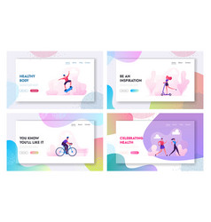 sports activity website landing page set man vector image