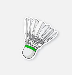 Sticker badminton shuttlecock from bird feathers vector