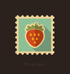 Strawberry flat stamp fruit vector