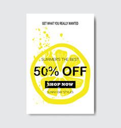 Summer sale lemon lettering badge design label vector