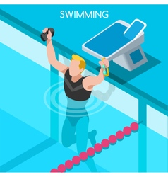 Swimming 2016 Summer Games Isometric 3D vector image
