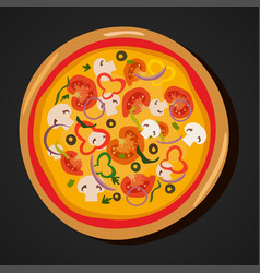 Top view homemade hot pizza icon pepperoni pizza vector