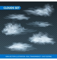 Transparent clouds realistic set on transparence vector