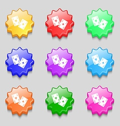 Two Aces icon sign symbol on nine wavy colourful vector
