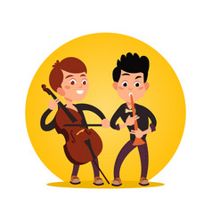 Two male teenagers playing classic instrumental vector