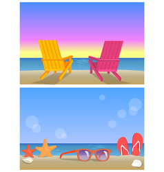 Two seascapes banners summer time vector