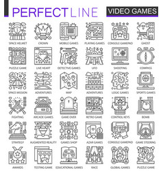 Video games outline mini concept symbols modern vector