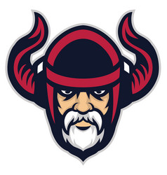 viking warrior head mascot vector image