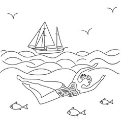 Woman swimming in the sea surrounded by fish vector