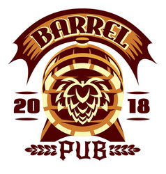 wooden beer barrel emblem vector image