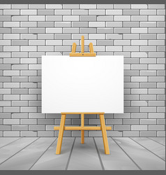 wooden easel canvas board isolated stand in front vector image