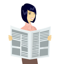 young asian business woman reading newspaper vector image