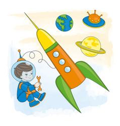 young astronaut children cartoon vector image